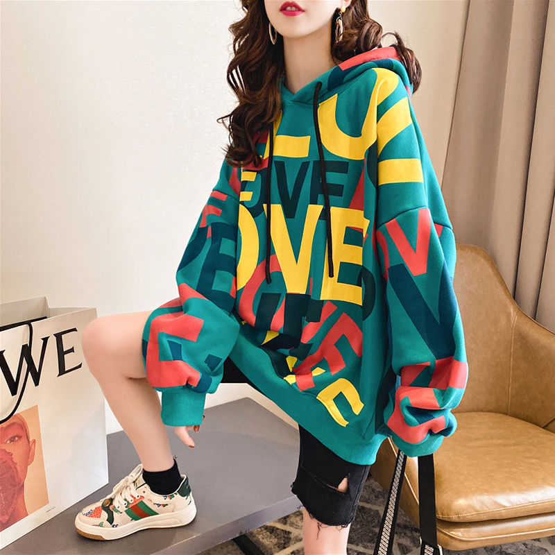 Plus Velvet Thick Loose Hoodies Sweatshirt Women Autumn Winter Mid-length New Tide Lazy Wind Long-sleeved Jacket Tops