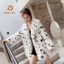 ZDFURS *2019 New Women Fox Fur Coat Luxury Real Overcoat Long Winter Ladys Fashion Leopard Collar Warm Thick Russian Outwear