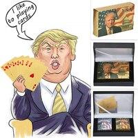 Donald Trump Kunststoff Spielkarten Poker Gold und Silber Poker Set Wasserdichte Mens Geburtstag Geschenk Ideen Dropshipping-in Gold-Banknoten aus Heim und Garten bei