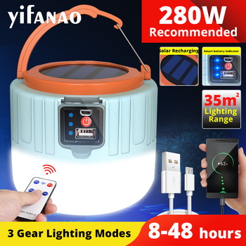 Solar LED Camping Light USB Rechargeable Bulb For Outdoor Tent Lamp Portable Lanterns Emergency Lights 280W 190W For BBQ Hiking 1