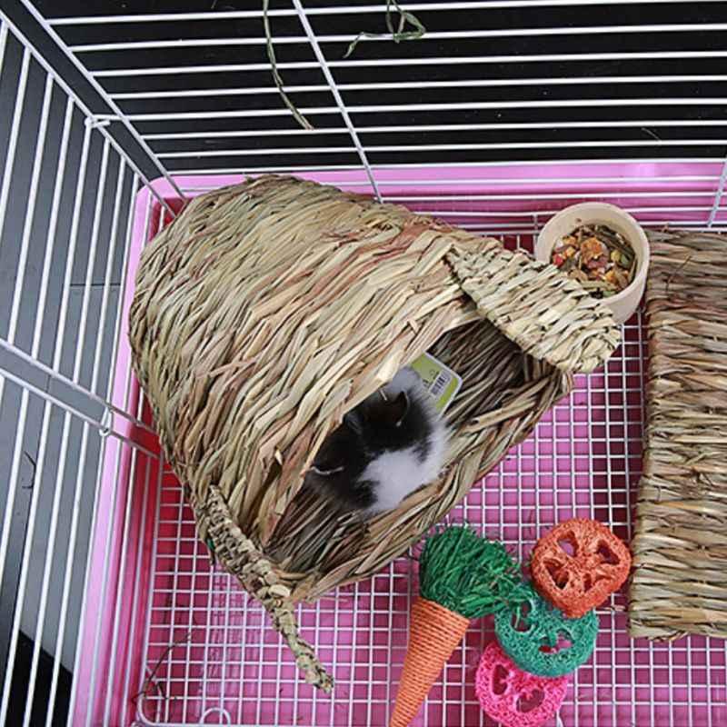 Chinchila cama pet tecido de palha hamster coelho cobaia gaiola ninho brinquedo para casa
