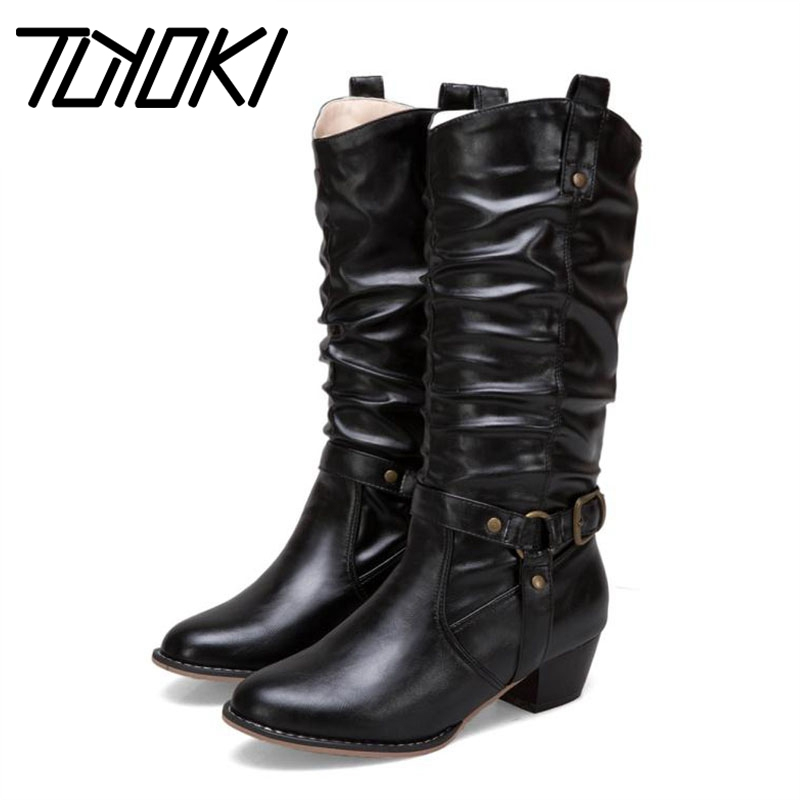 Tuyoki Boots Buckle Vintage Warm Shoes High-Heels Plus-Size Women Footwear Mid-Calf Party