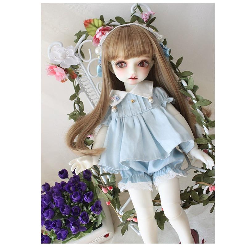 Doll clothes 1/4 1/6 doll dress pink blue color summer dress for 1/6 1/4 BJD SD doll accessories dress+hair bind+pumpkin pants