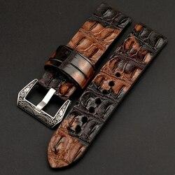 Handmade camouflage krokodil leder Armband, knochen korn retro lederband, 20MM 22MM 24MM für PAM111 männer armband