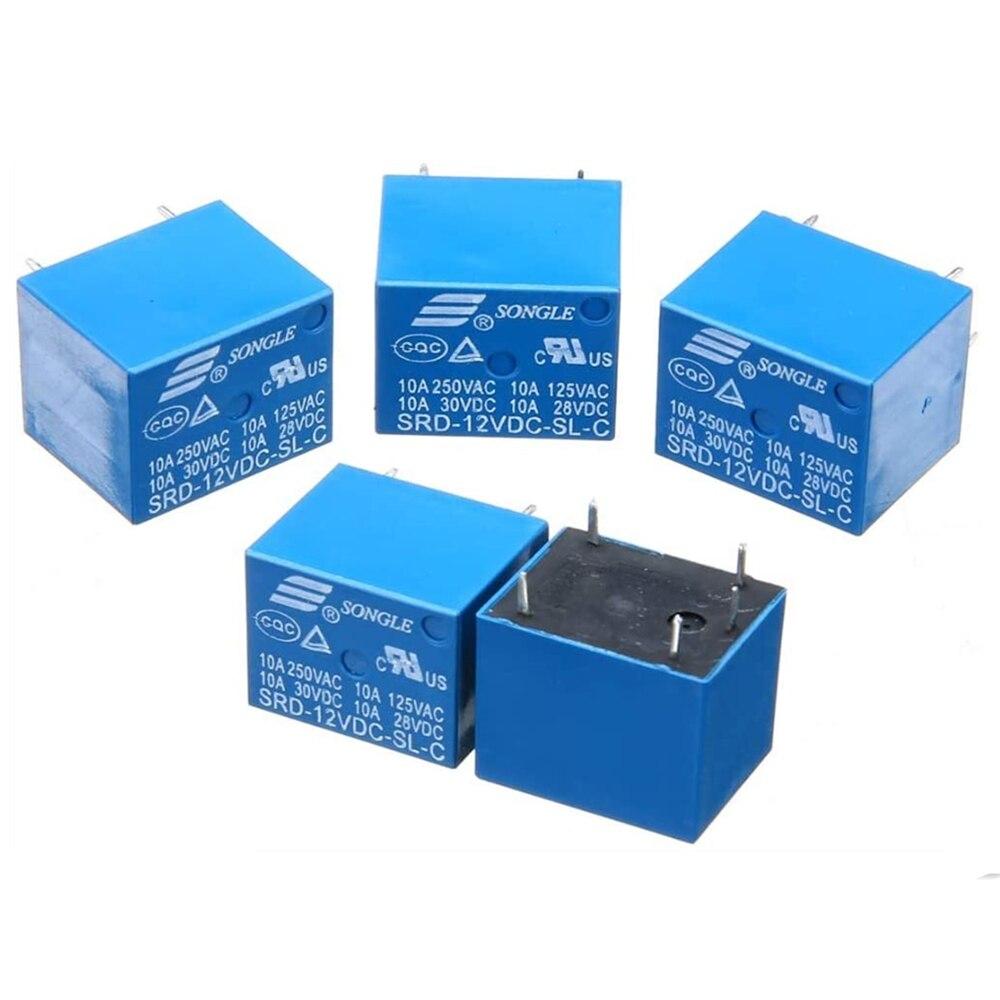 5 шт./заказ 5V/работающего на постоянном токе 12 В в Мощность реле SRD-12VDC-SL-C T73-12V 5-контактный разъем PCB Тип