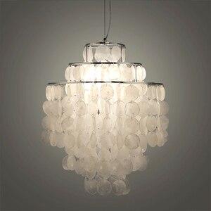 Image 1 - DIY מודרני לבן טבעי צדף תליון מנורת מתקן E27 אורות Dia 26/30/45cm פגז מנורות עבור חיים בבית חדר שינה חדר