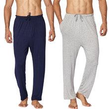 Outono vestuário quente homem modal algodão pijama calças de dormir mais tamanho yoga fitness confortável bottoms homem casual casa