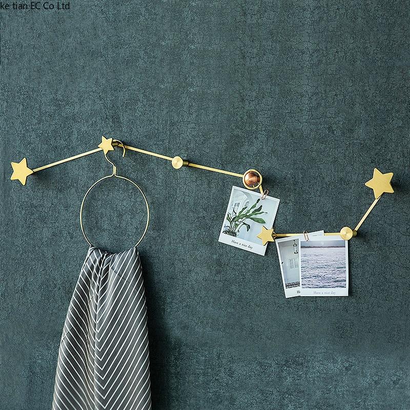 Nordic creative twelve constellation decorative hook Creative wall brass hanger minimalist Simple living room wall hook