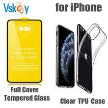 100 sztuk szkło hartowane i 100 sztuk miękkie wyczyść TPU Case dla iPhone 6/7/8/i11/11Pro/X/XR/Xs Max pełna pokrywa osłona ekranu