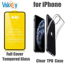 100pcs Tempered Glass & 100pcs Soft Clear TPU Case for iPhone 6/7/8/i11/11Pro/X/XR/Xs Max Full Cover Screen Protector Cover