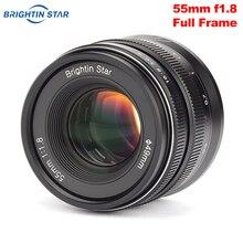 Brightin Stern 55mm F 1,8 Volle Rahmen Große Blende Manueller Fokus Prime Objektiv für Sony E mount Canon RF mount Nikon Z Mount Kameras