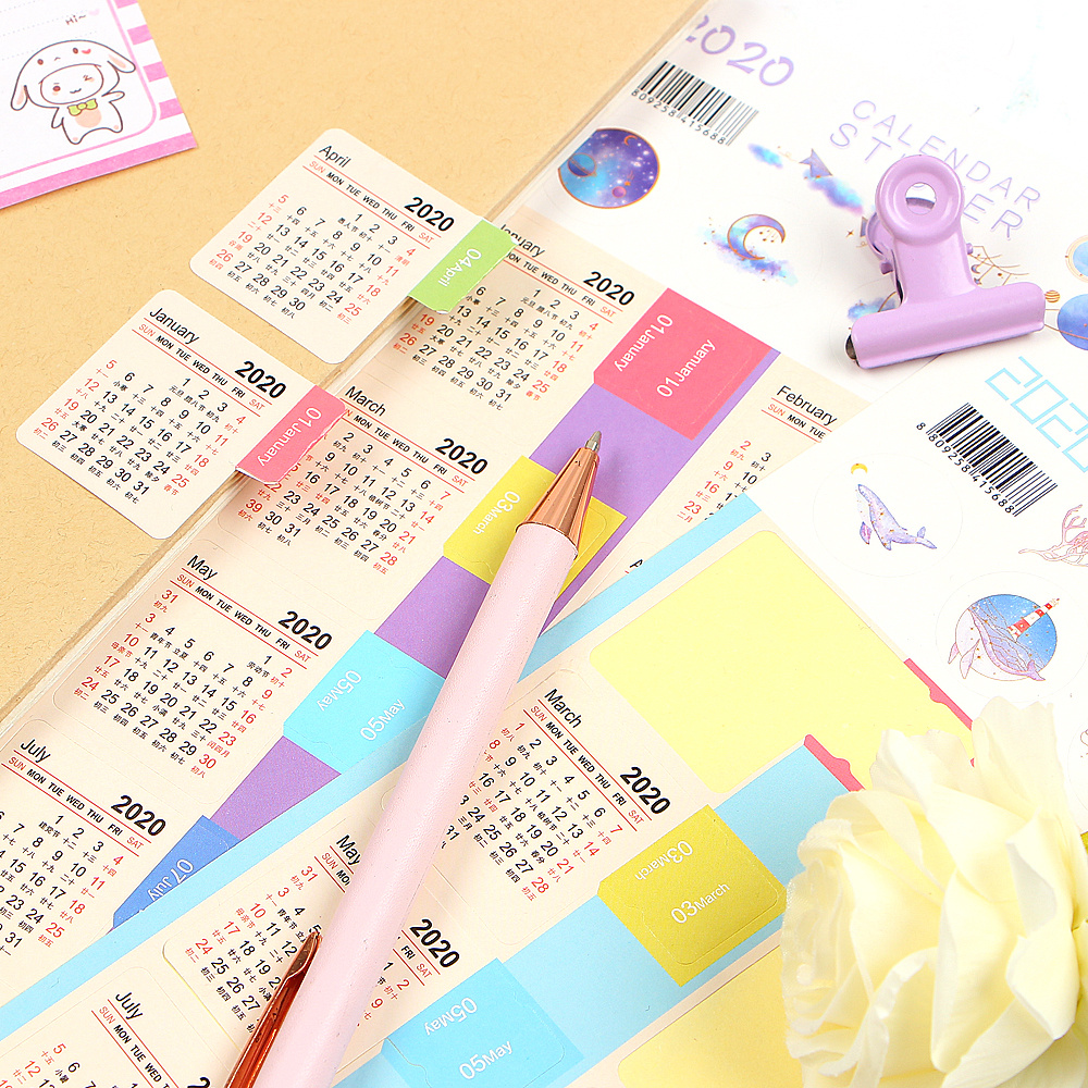 Купить с кэшбэком 2 Pcs/pack Cute 2020 Year Calendar Stickers Notebook Planner Decorative Sticker Mini Calendar Label Index Bookmark Stationery
