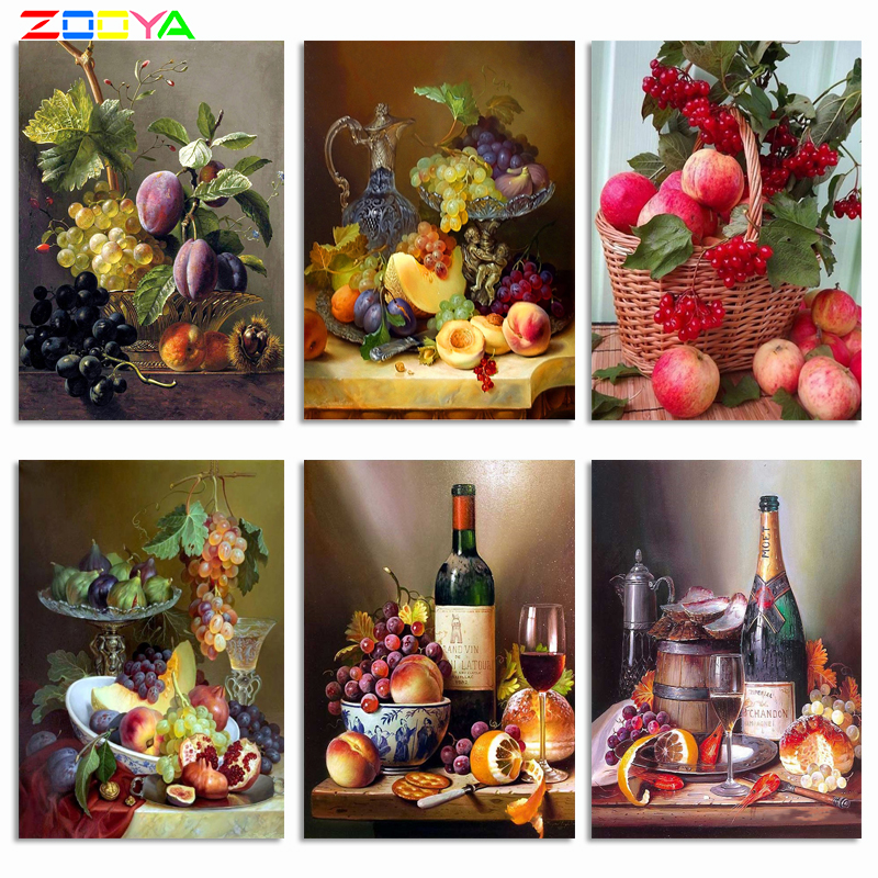 ZOOYA 5d Diamond Painting Fruit diy Diamond Embroidery kitchen Table Grape Peach Mosaic Full Round drill Painting by number R853(China)