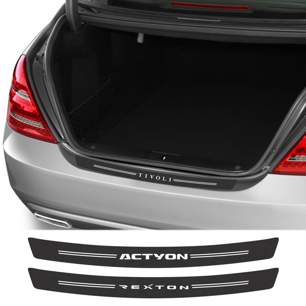 Car Rear Bumper Trunk Protector Carbon Fiber Stickers For SsangYong Actyon Musso Korando Tivoli Rexton Kyron Auto Accessories(China)