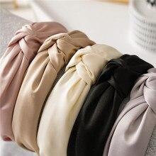 Diadema de Lado ancho para mujer, cinta para el pelo de Color sólido, cinta para el pelo de tela sencilla, accesorios para el cabello para niña, aro de pelo