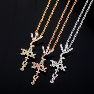 Hip Hop Micro Paved Cubic Zirconia Bling Iced Out Cactus Jack Cross Pendants Necklace for Men Rapper Jewelry Drop Shipping(China)