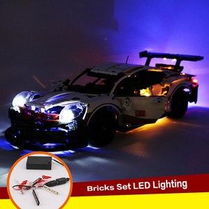 Image 2 - DIY Langlebige LED Licht Beleuchtung Kit RSR Ziegel Spielzeug Glowing Baustein Lichter Für Lego 42096 Technik Porsche 911 RSR ziegel