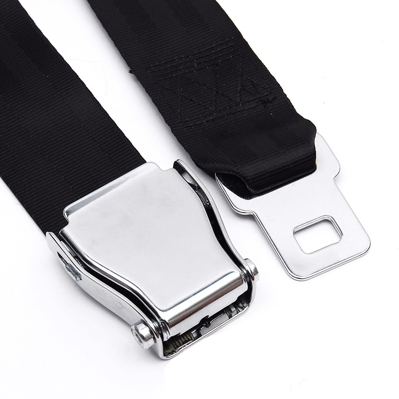 Universal 80CM Adjustable Aircraft Airplane Safe Seat Belt Extension Extender Buckle Black image