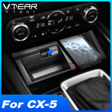 Vtear QI Car Wireless Charger For Mazda CX-5 2021 2020 Accessories Fast Charge Phone Holder Charging Plate Interior Modification