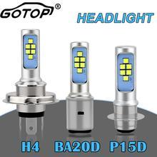 Bombillas LED para faro delantero de motocicleta H4 HS1, BA20D P15D H6, Hi Lo, 1200LM, 6000K, accesorios para ATV, luces antiniebla de 12V, 1 Uds.