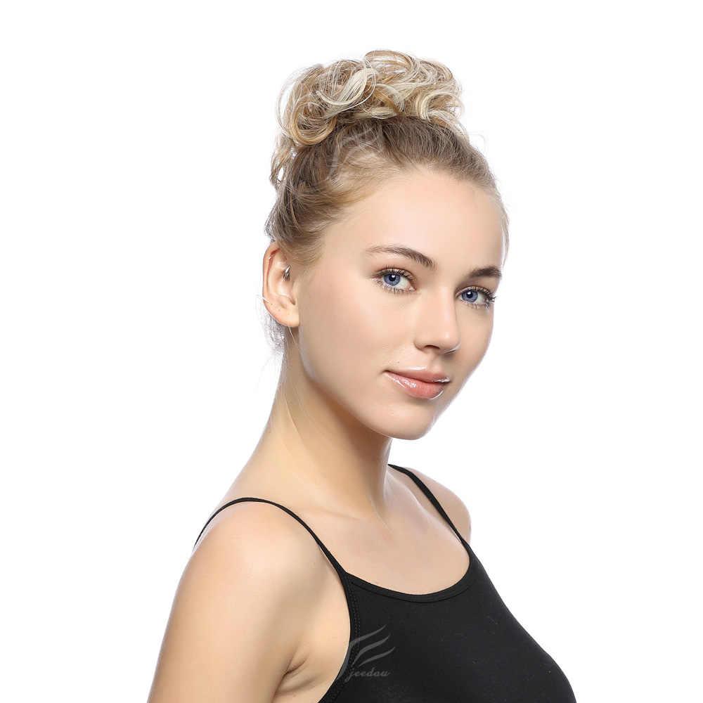 Jeedou Elastische Chignon Haarteil Lockige Messy Bun Mix Grau Natürliche Chignon Synthetische Haar Extensions Haarteile Dropshipping