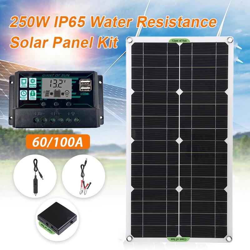 250W Панели солнечные комплект двойной 12/5V DC usb-камера с флеш-картой памяти 60A/100A блока управления установкой на солнечной панели солнечных бат...