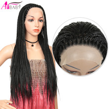 Braids Wig Lace-Front Wig-Box Hair Heat-Resistant Micro-Braidednatural Synthetic Long