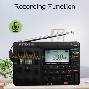 Image 5 - 2 قطعة RETEKESS V115 FM/AM/SW راديو متعدد الموجات راديو استقبال باس الصوت مشغل MP3 مسجل راديو محمول مع النوم الموقت F9205