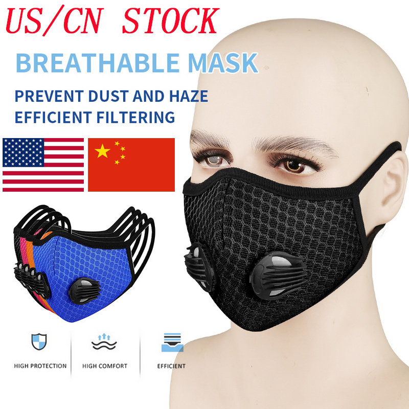 In Stock!PM2.5 Earloop Dust-proof Mask Anti-fog Mouth Mask With Respirator Filter OutdooRr Cover With Double Breathing Valves