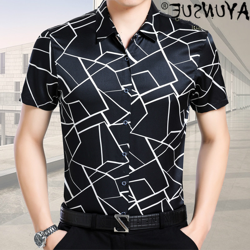Men's silk short sleeve shirt men's summer Casual Short Sleeve Shirt 2021 men's 9552