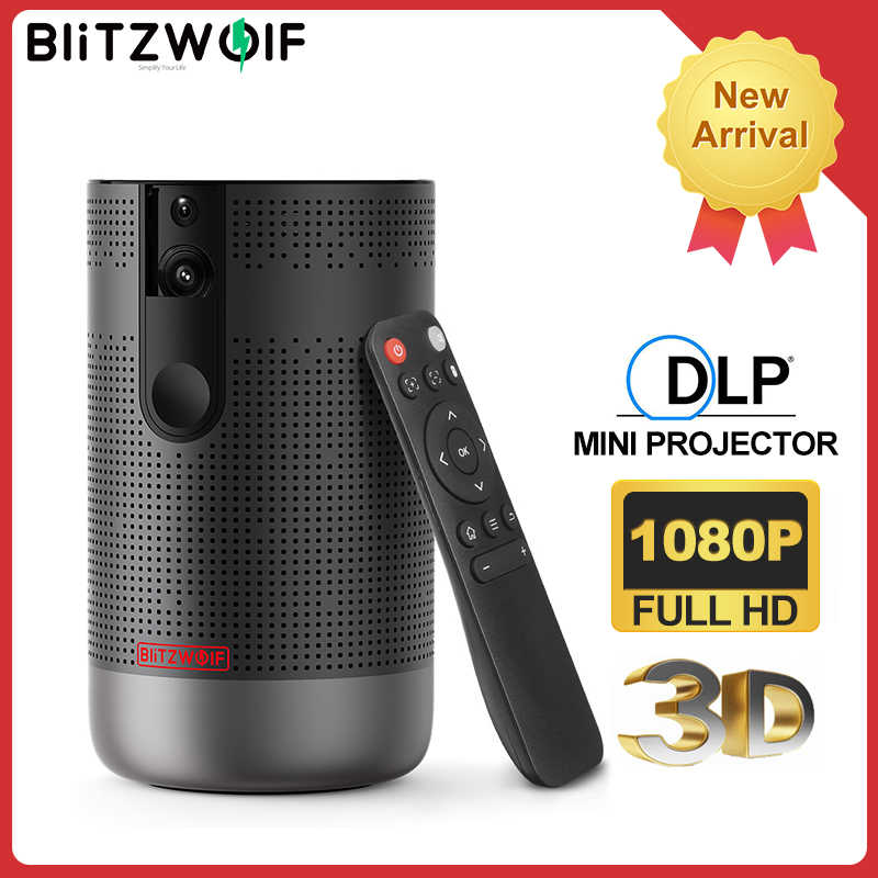 Blitz Wolf BW-VP4 1920X1080 Full HD Proyektor Android 7.0 (2G + 16G) 5G Wifi DLP Projector Mendukung 4K 3D ZOOM Video Game Beamer