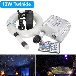 10 Вт RGBW Мерцающие светодиодные волоконно-оптические звезды потолочные светильники комплект 0,75 мм * 200 шт * 2 м Оптическое волокно и 28Key RF контр...