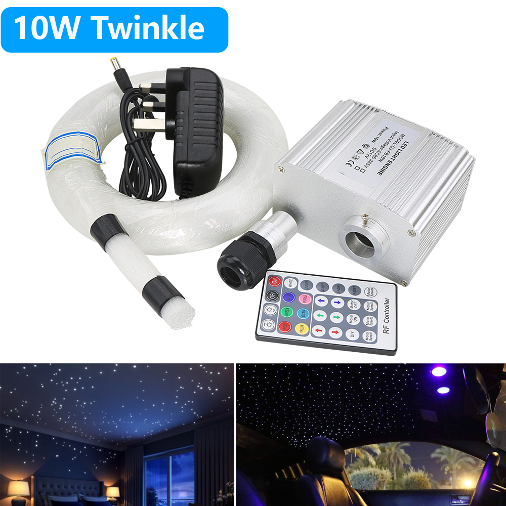 10W RGBW Twinkle LED Fibre Optic Star Ceiling Lights Kit 0.75mm*200pcs*2M Optical Fiber &28Key RF Control  Starry Ceiling Light