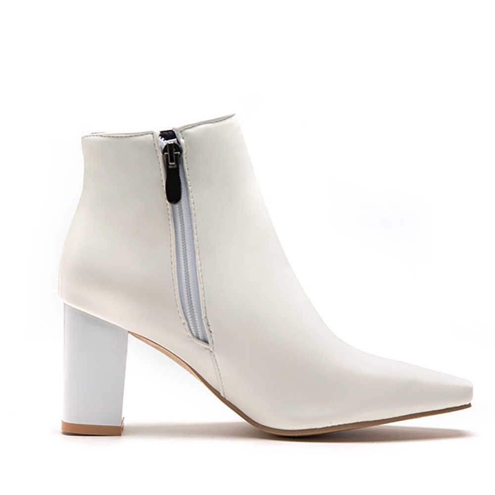 2019 Thương Hiệu Thời Trang Mới Trắng Nữ Mắt Cá Chân Đi Giày Cao Gót Vuông Nữ Đảng Giày LM99 Plus Size Lớn 12 43 47