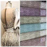 2020 sea green/mint color new lace luxury handmade beading European style fabric for wedding and party dressing free shipping