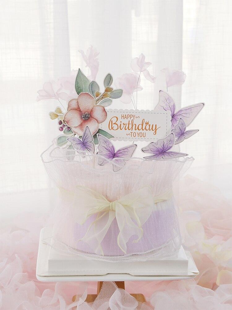Sweet Colourful Flower Butterfly Happy Birthday Cake Topper Wedding Bride Dessert Decoration For Birthday Party Lovely Gifts Cake Decorating Supplies Aliexpress