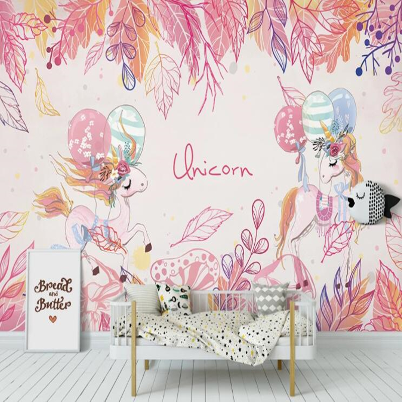 Custom Papel De Parede Infantil, Pink Unicorn Mural For Living Room Bedroom Sofa Background Wall Decoration Wallpaper