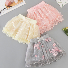 цена на 2020 Fashion Baby Girl Skirts Girl Princess Flowers Embroidery Skirt Mesh Skirt Frill Party Casual Wild Skirt Children Chiffon