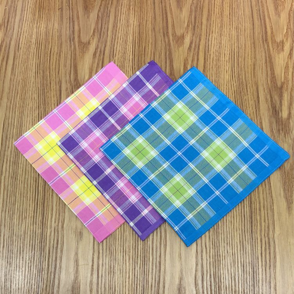 5x 100% Cotton Plaid Handkerchiefs Hanky  Square Men Women Hankies