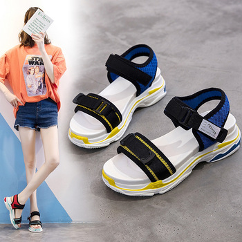 Fashion Concise Sport Platform Women Sandals Open Toe Ankle Strap  Beach Ladies Sandals Solid Outdoor Platform Women Shoes