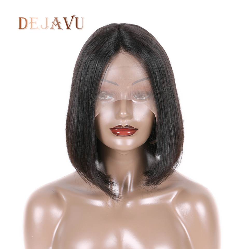 Dejavu Bob Wig Indian Hair Lace 13*4 Closure Frontal Wigs Short Bob 100% Human Hair Wigs Straight Lace Wig  Non Remy Hair