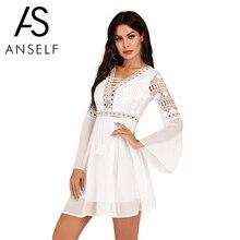 Anself Sexy Women's Dress V-Neck Hollow Out Long Sleeve Mini Chiffon Dress Elegant White Boho Woman Dresses Casual Lace Vestido