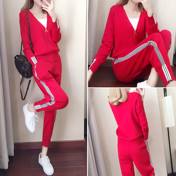Spring and Autumn 2020 spring version of the new Korean style knitted ice thin fashion suit women autumn winter knitting two