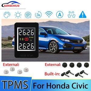 Умная Автомобильная TPMS система контроля давления в шинах для Honda Civic с 4 сенсорами Беспроводная система сигнализации ЖК-дисплей система мони...