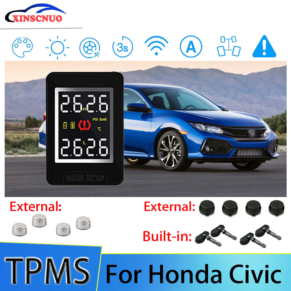 Smart Car TPMS Tire Pressure Monitor System For Honda Civic with 4 sensors Wireless Alarm Systems LCD Display TPMS Monitor