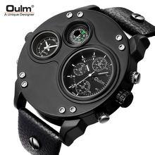 Oulm Кварцевые часы компас мужские с двумя часовыми поясами
