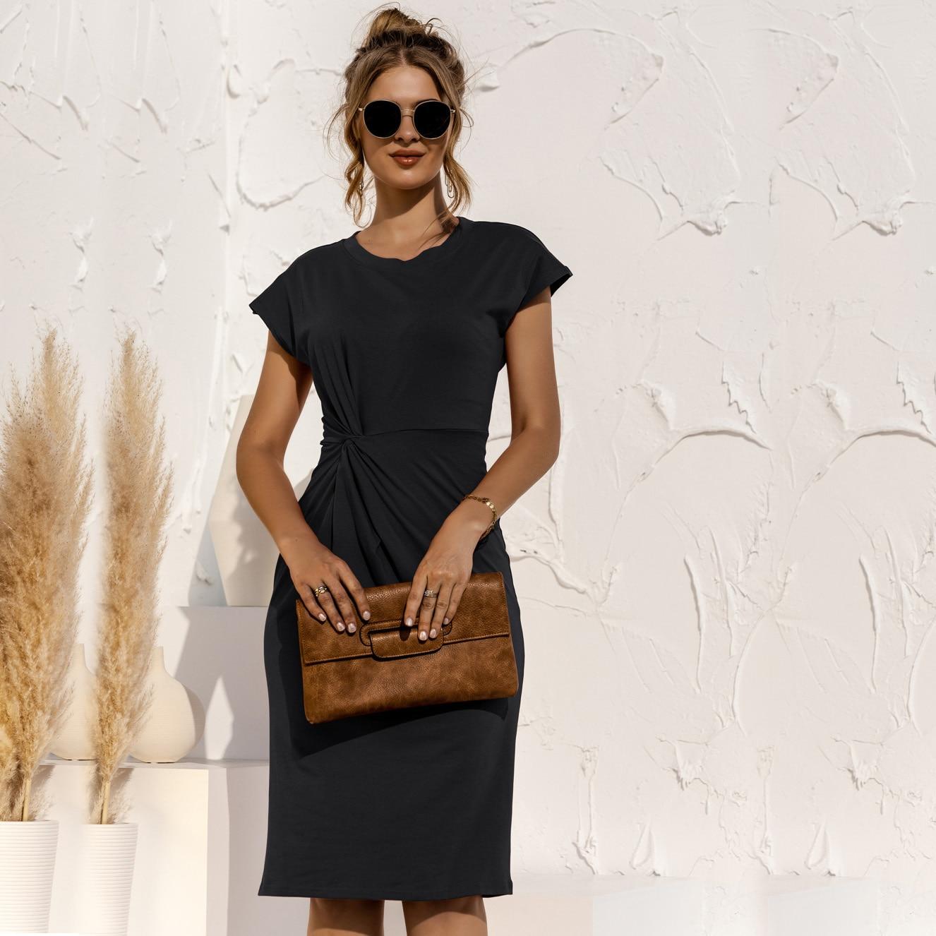 women knitted slim dress 202 summer Trumpet O-Neck short sleeve Empire Waist Slim Solid Straps Mid-calf knitted Dress 8