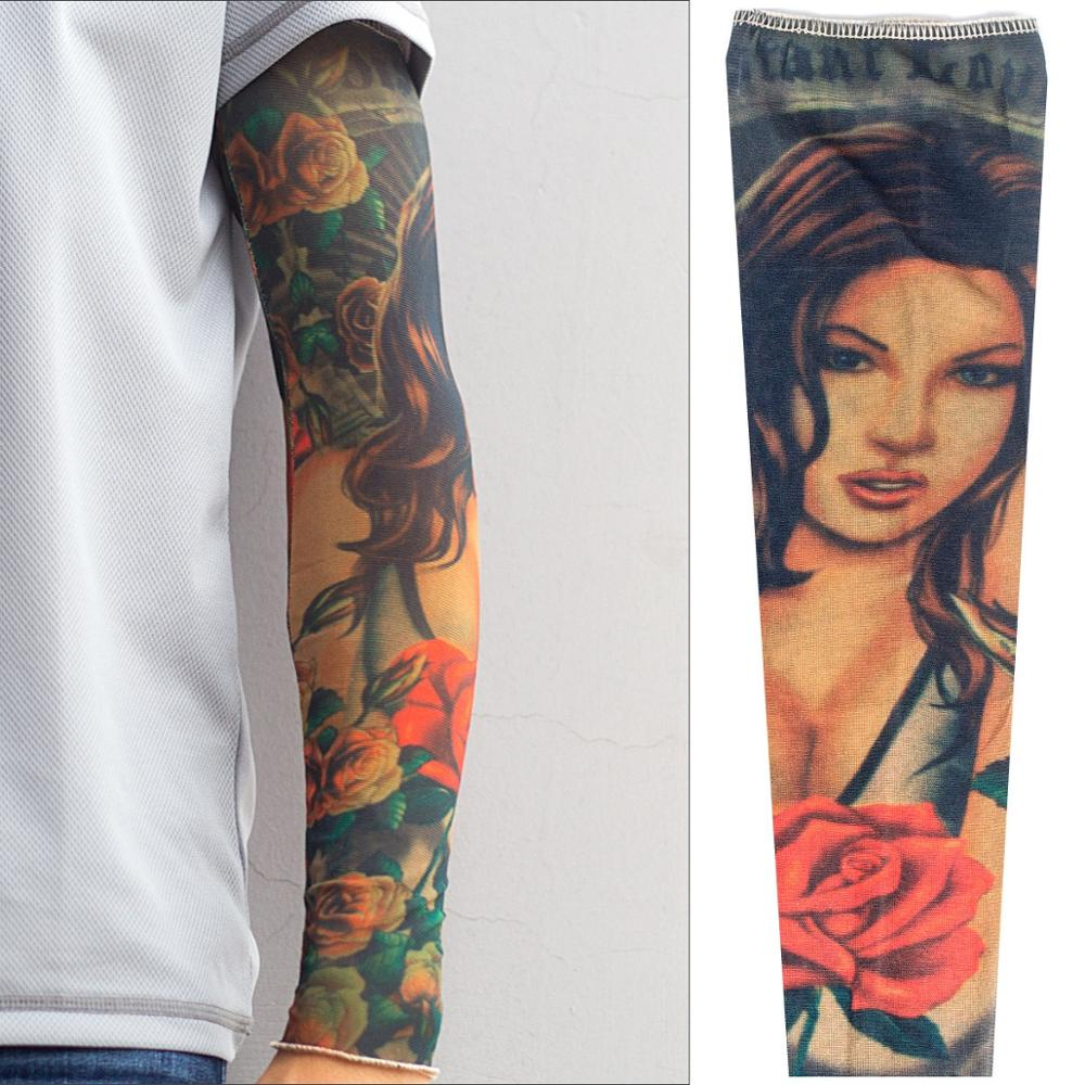 Tattoo Sunscreen Sleeve Male Shield Cover Sleeve Sunscreen Ice Silk Tattoo With Sewing Flower Arm Arm Tattoo Sleeve