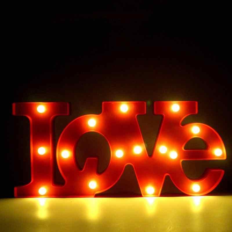 53*23*4,3mm 3D amor letra de luz LED romántica boda decoración mesa de pie letra lámpara luces San Valentín amor novia regalos