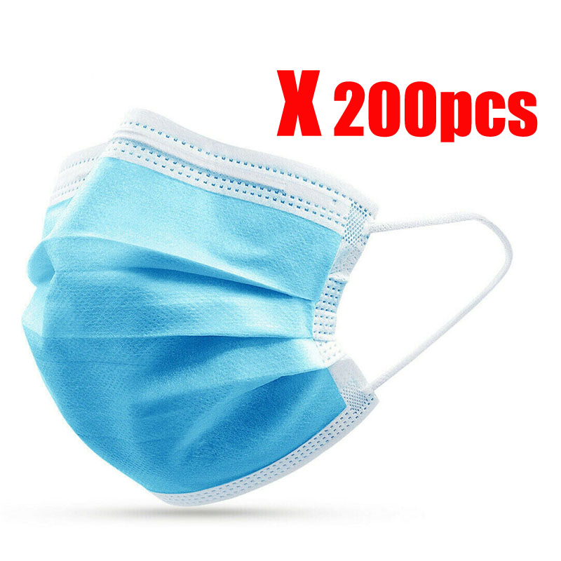 200pcs Surgical Mask Face Mask Medical Masks 3 Ply Non woven N95 